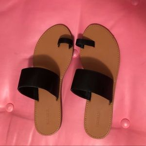 Slip on Black and Brown Faux Leather Sandals